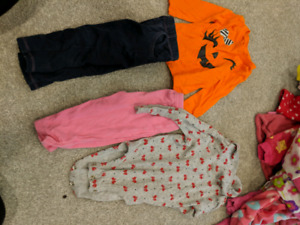 Baby girl 6-12 month sleepers, sweaters and one piece