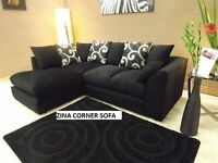 new in stock - Zina corner sofas left or right black fabric sofa plus many others under warranty