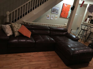 Large Dark Brown Sectional Faux Leather