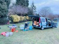 MICRO CAMPER, FOLD OUT BED, WOOD BURNER, TENT, GAS STOVE, PORTABLE TOILET,