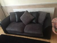 Black and charcoal settees - 1 x 2 seater & 1 x 3 seater