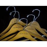 BROOKS BROTHERS Wooden Hangers - 5 Pcs  BB LOGO  Suit Pants Shirt   - New
