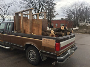 Truck load of green fire wood