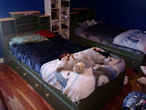 pair of twin captain's beds