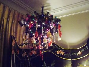 UPSIDE DOWN BLACK XMAS TREES with LIGHTS $10.00 each