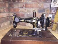 Antique Vickers hand crank sewing machine