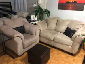 Very comfy loveseat and armchair