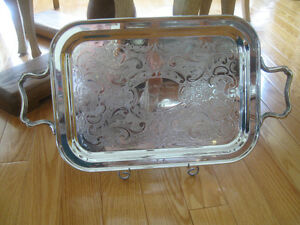 GORGEOUS EXTRA-LARGE DOUBLE-HANDLED SILVER-PLATED SERVING TRAY
