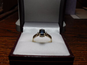 "10kt Yellow Gold ""Sapphire"" & Diamond Engagement Ring"