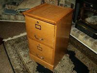 2 drawer oak filing cabinet