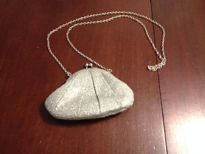 Silver Glittery Clutch with Silver Chain and Clasp