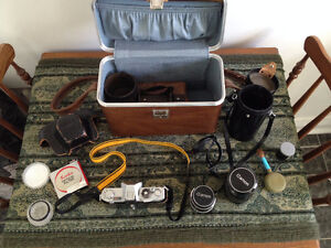 Vintage Canon FX Camera Collection with Custom Leather Bag