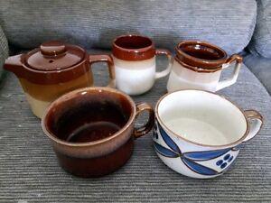 Pottery Mugs & Tea Pot