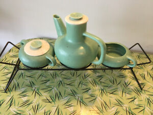 Groovy Vintage Tea Set with Wrought Iron Rack