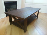 New Large Solid Wood Walnut Stained Rustic Coffee Table