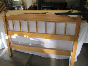Double Bed Wood Headboard AND Bed Rails