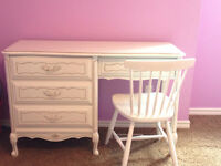 French provincial white dresser/ desk with chair