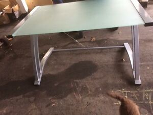 Glass and aluminum desk