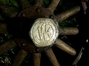 2 Antique 1920 Willys Knight wooden spoke car wheels / a PAIR