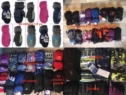 Brand new snow gloves men women kids $5,$7.5,$10,$15,$20