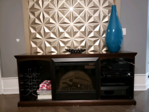 Credenza with built in fireplace