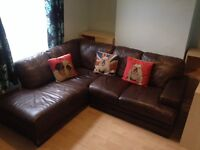 REDUCED PRICE Brown Leather LH corner sofa