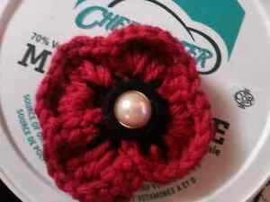 Home made crochet poppies