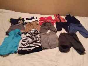 Boys casual clothing outfit lot. Tops, sweater, pants (0-3month)