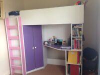 single bed full set,bed,wall drop,bookshelf,computer table