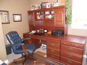 New Price-Desk with hutch, filing cabinet and leather chair