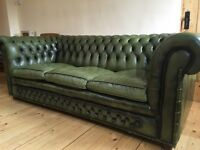 Fabulous Green Leather Chesterfield Sofa Bed
