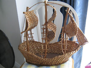 Large Wicker Sailboat