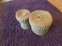 Two round wicker baskets with lids £5