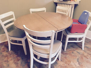 Professionally refinished solid wood oak tables with chairs