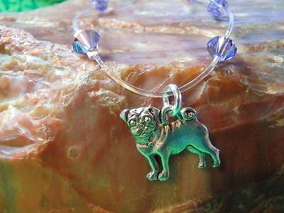 "PUG Dog Crystal Illusion ANKLET Made with Swarovski Elements 10"" PURPLE"