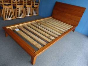 KING SINGLE BED FRAME CEDAR STAIN ALL PINE TIMBER SLEIGH STYLE VG Geebung Brisbane North East Preview