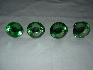 four glass green cabinet or dresser knobs