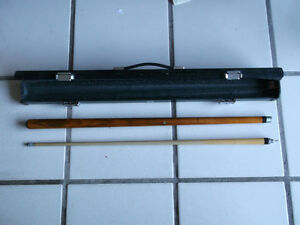 POOL CUE, CUSTOM TWO PIECE BRASS FITTING, NEW, IN CASE.