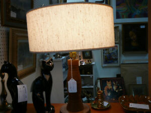 Cool-looking vintage teak wood lamp