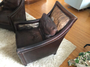 Antique style Leather Club Chairs $500 for pair