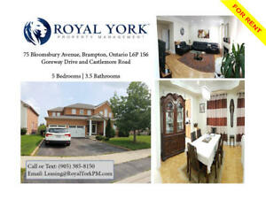 5 BED / 4 BATH - UPGRADED HOME FOR RENT @ BRAMPTON | CASTLEMORE