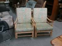SALE NOW ON!! Pair of Conservatory Chairs For Re-upholstery Project- Can Deliver For £19