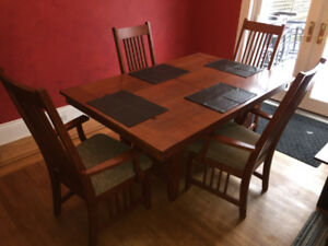 Large Mission style dining table set