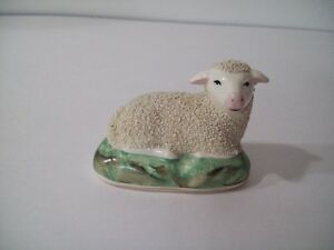 ANTIQUE STAFFORDSHIRE BOCAGE LAMB/ SHEEP FIGURINE SMALL