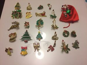 25 Christmas related brooches and pins