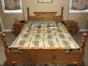 Wooden Queen Bed Set just for 400$ with Box and Ikea Mattress