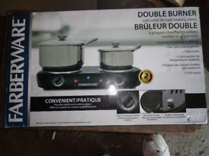 FARBERWARE 1500 WATT DOUBLE BURNER WITH DIE-CAST HEATING PLATES