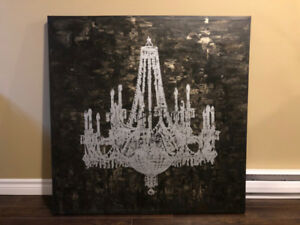 "Large 40"" x 40"" Chandelier Canvas Wall Art - Great condition!"