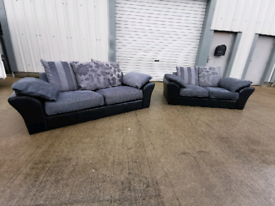 Black & grey fabric 3+2 seater sofas couches suite 🚚