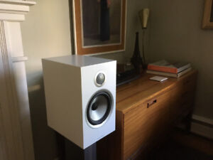 Satin White Bowers & Wilkins 706 S2 + Matching Stands:  Perfect